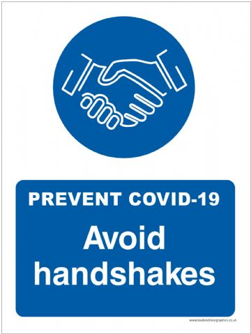 Covid-19 safety sign Avoid handshakes